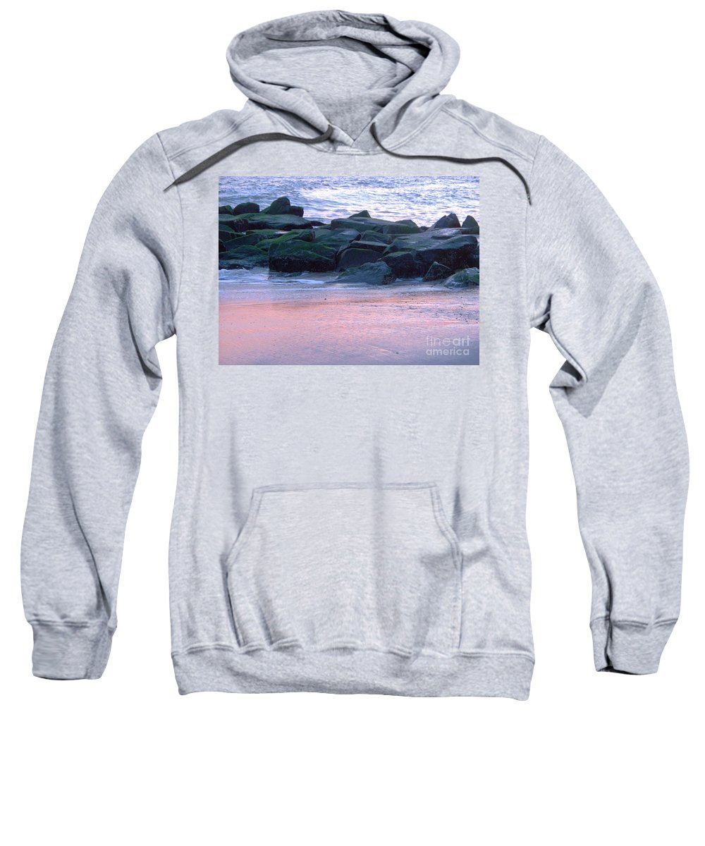 Breakwater Sweatshirt featuring the photograph Breakwater Rocks At Sunset Beach Cape May by Eric Schiabor