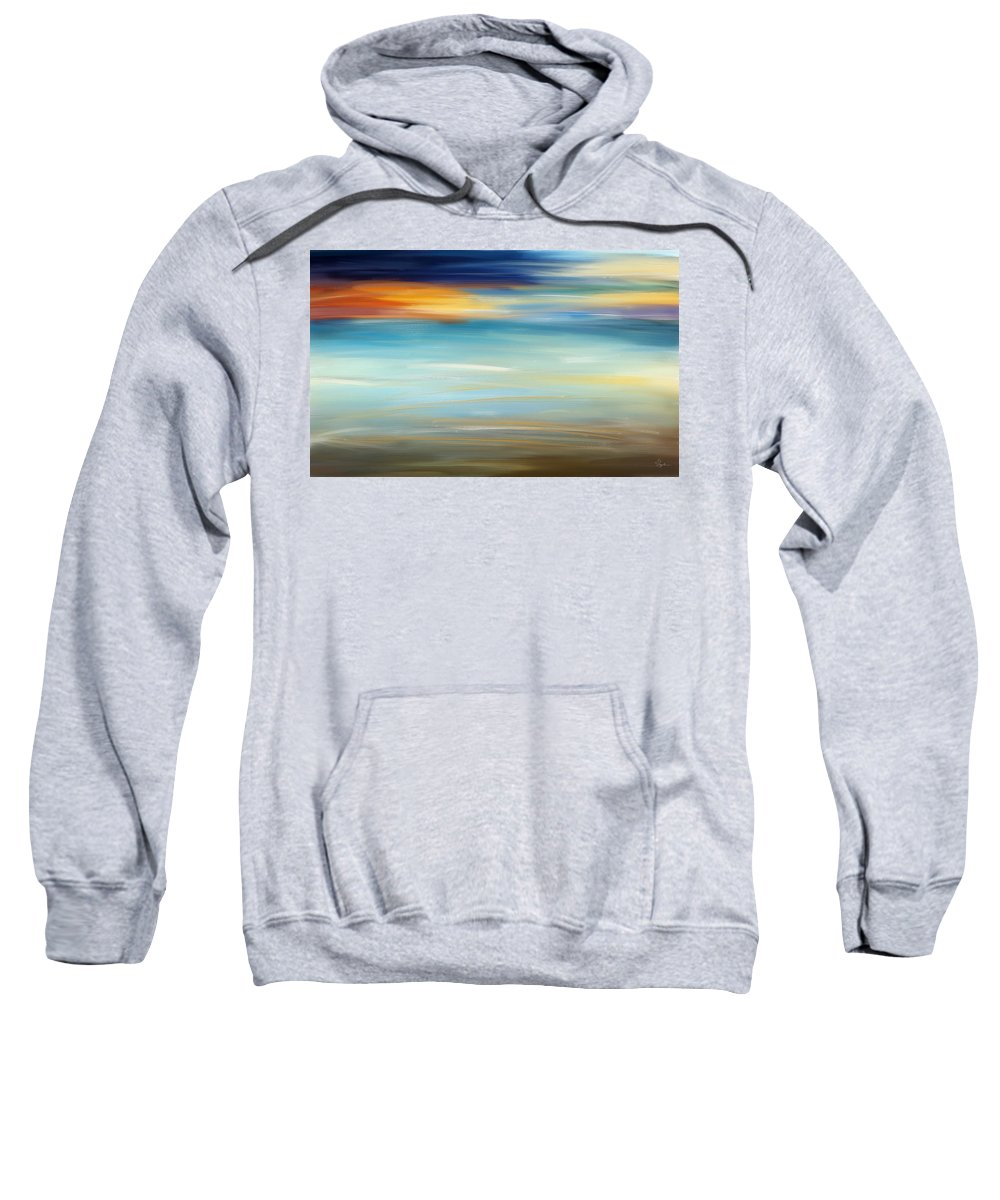 Seascapes Abstract Sweatshirt featuring the painting Breeze-seascapes Abstract Art by Lourry Legarde
