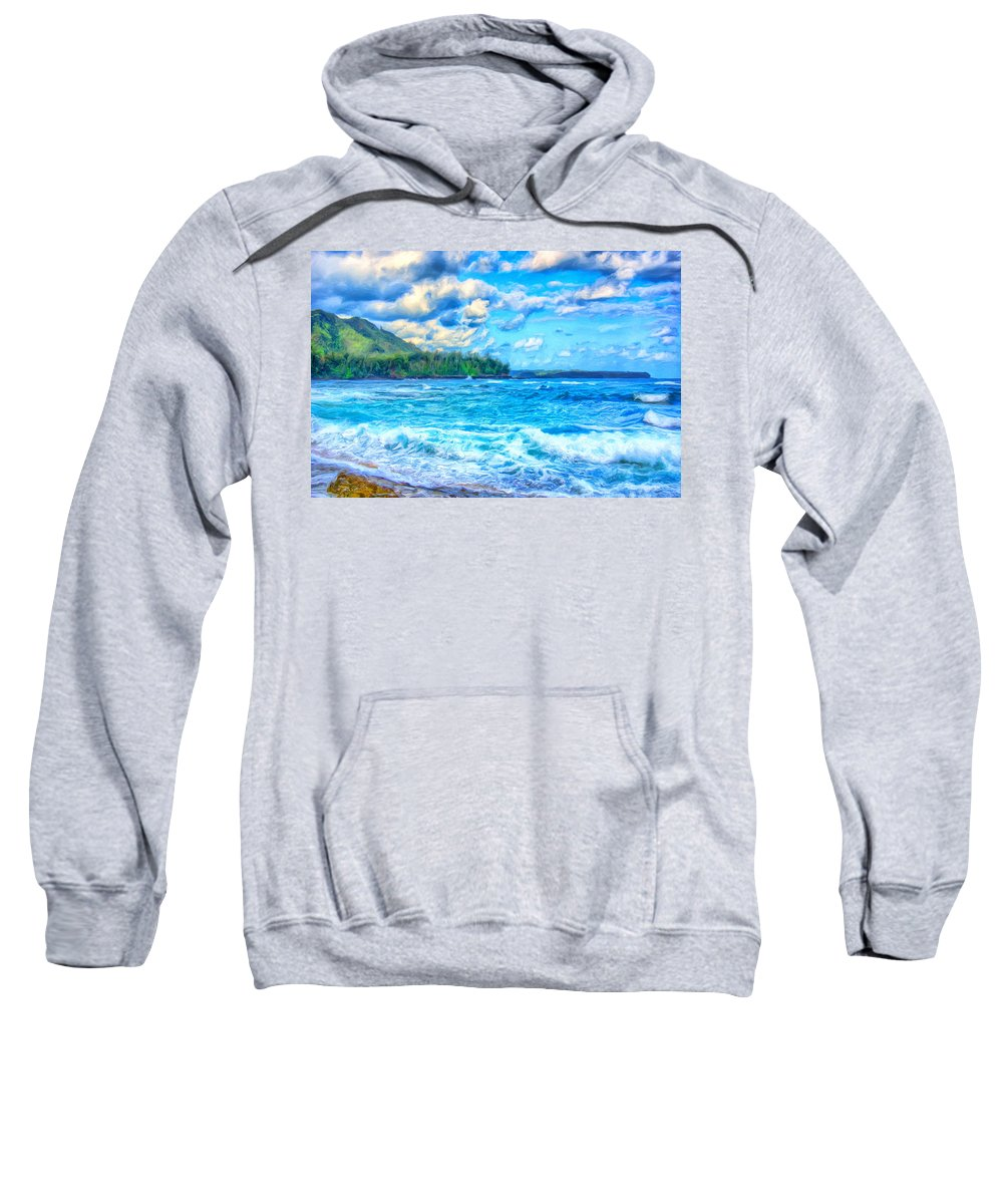 Breezy Sweatshirt featuring the painting Breezy Hawaii Morning by Dominic Piperata