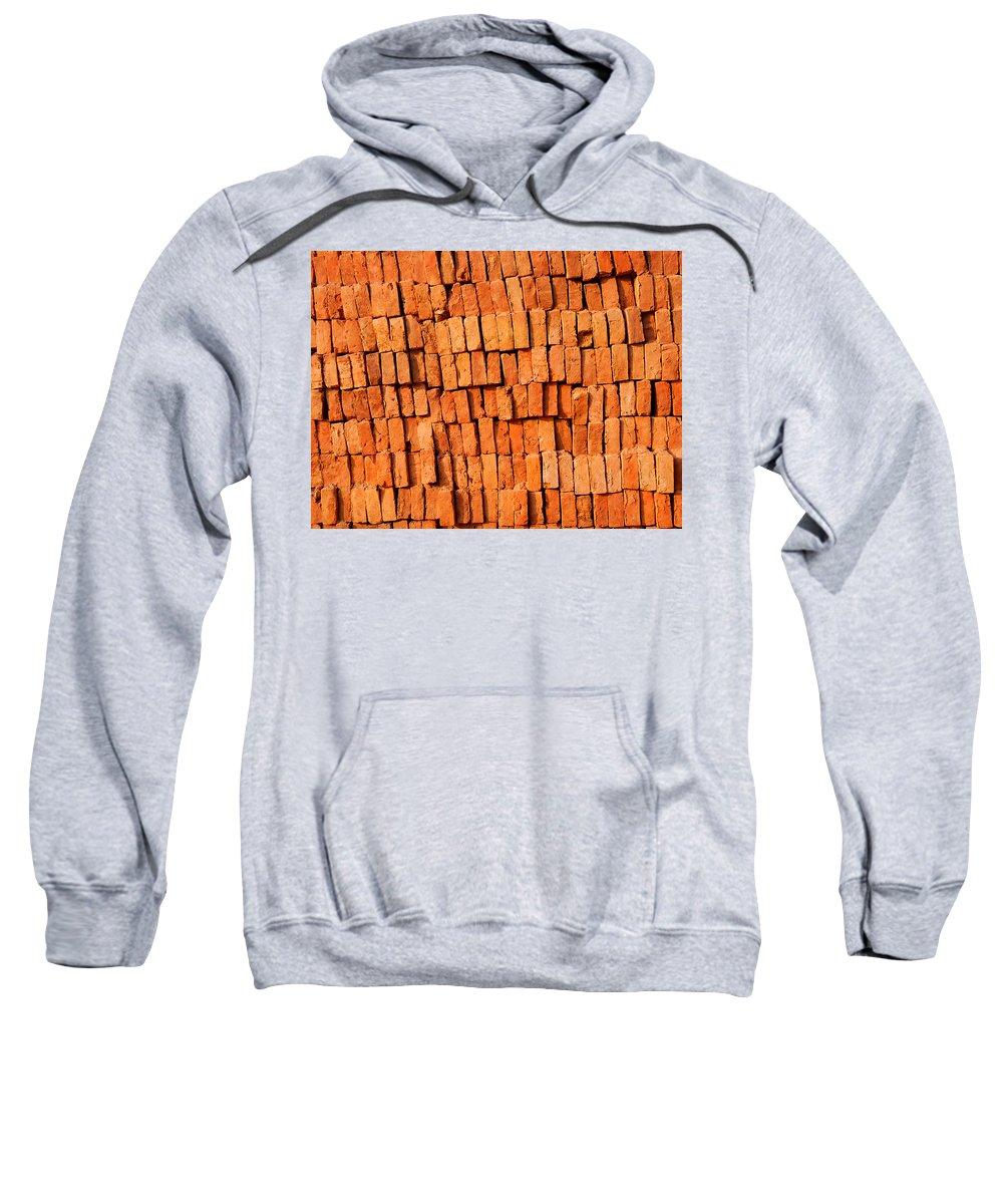 Brick Sweatshirt featuring the photograph Brick Stack by Dutourdumonde Photography