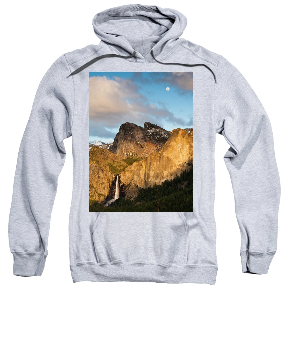 Beauty In Nature Sweatshirt featuring the photograph Bridalveil Falls And Full Moon by Josh Miller