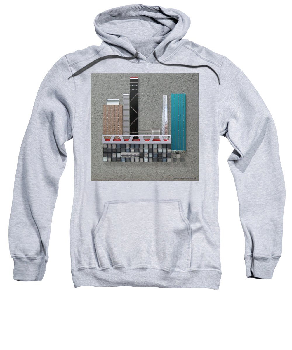Assemblage Sweatshirt featuring the relief Bridge City by Elaine Booth-Kallweit