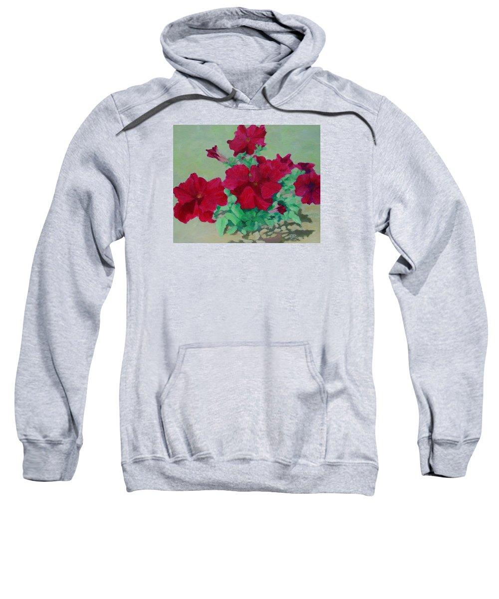Bright Flowers Sweatshirt featuring the painting Red Flowers Art Brilliant Petunias Bright Floral by K Joann Russell
