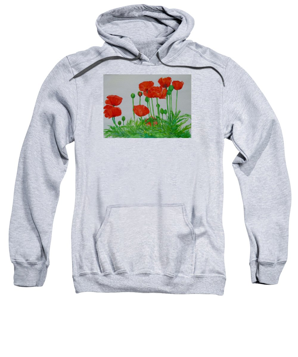 Red Poppies Sweatshirt featuring the painting Red Poppies Colorful Flowers Original Art Painting Floral Garden Decor Artist K Joann Russell by K Joann Russell