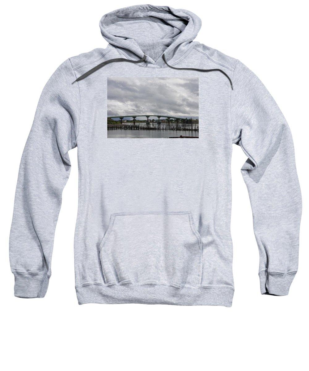 Brocken Jetty Sweatshirt featuring the photograph Broken Jetty And Franklin Roosevelt Memorial Bridge  by Christiane Schulze Art And Photography