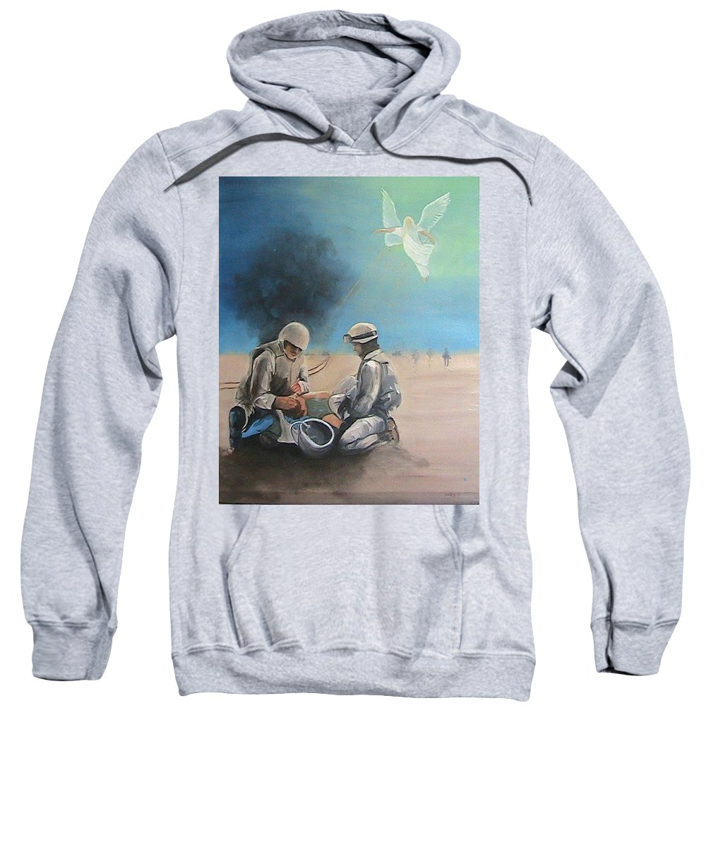 Soldiers Sweatshirt featuring the painting Brothers by Catherine Swerediuk