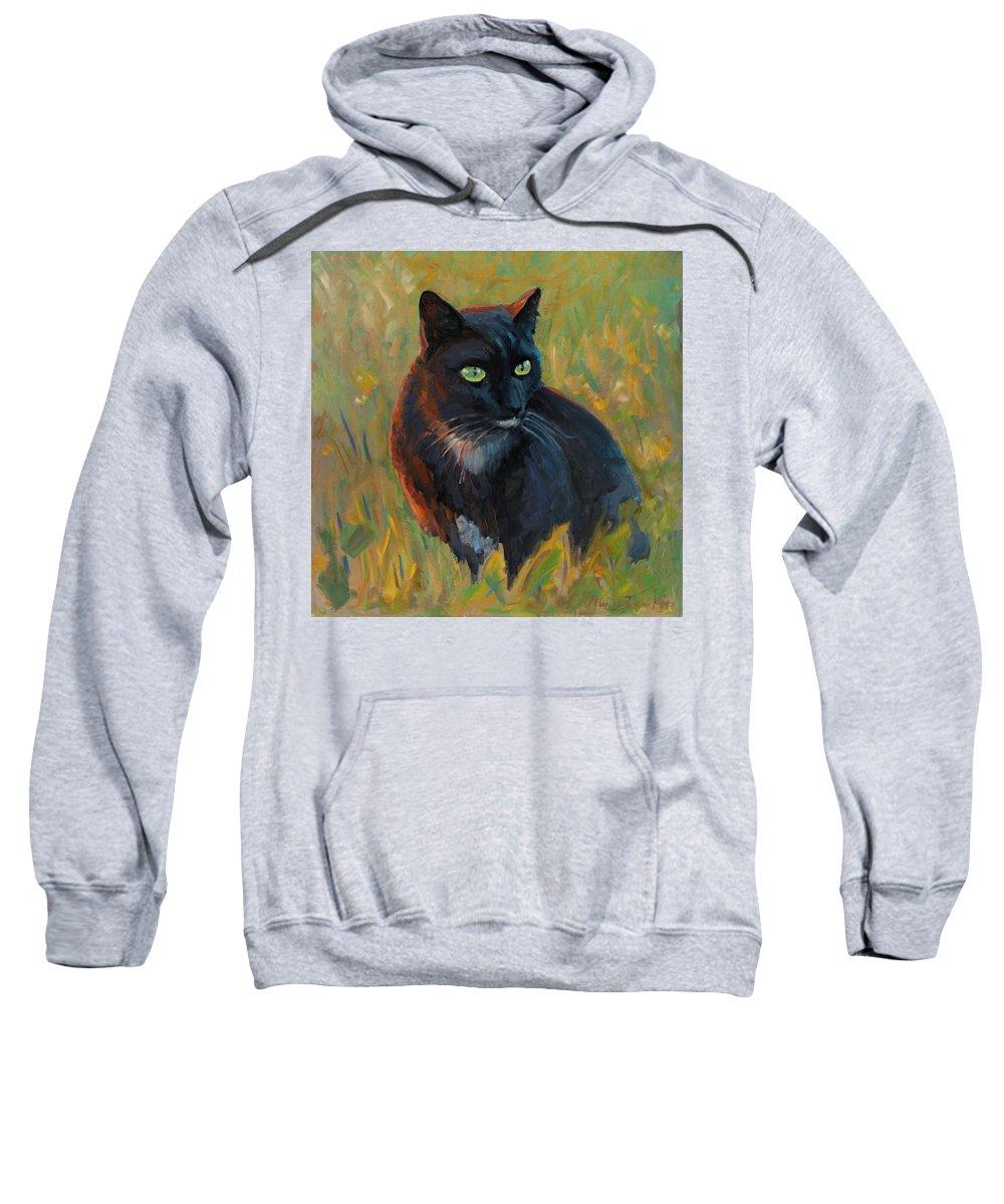 Cat Black Pet Grass Sunset Light Feline Sharp Look Sweatshirt featuring the painting Bubu In The Sunset by Marco Busoni