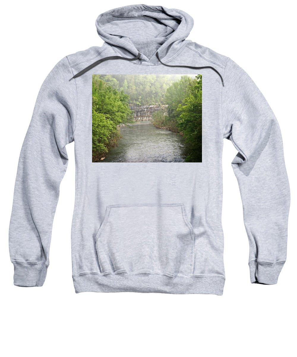 Buffalo National River Sweatshirt featuring the photograph Buffalo River Mist Horizontal by Marty Koch