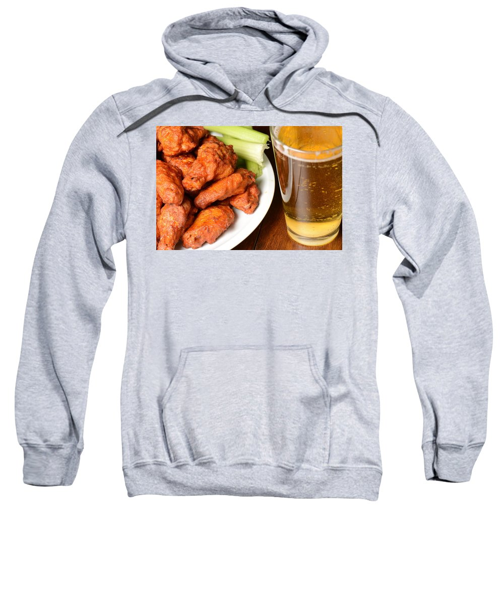 Beer Sweatshirt featuring the photograph Buffalo Wings With Celery Sticks And Beer by Brandon Bourdages