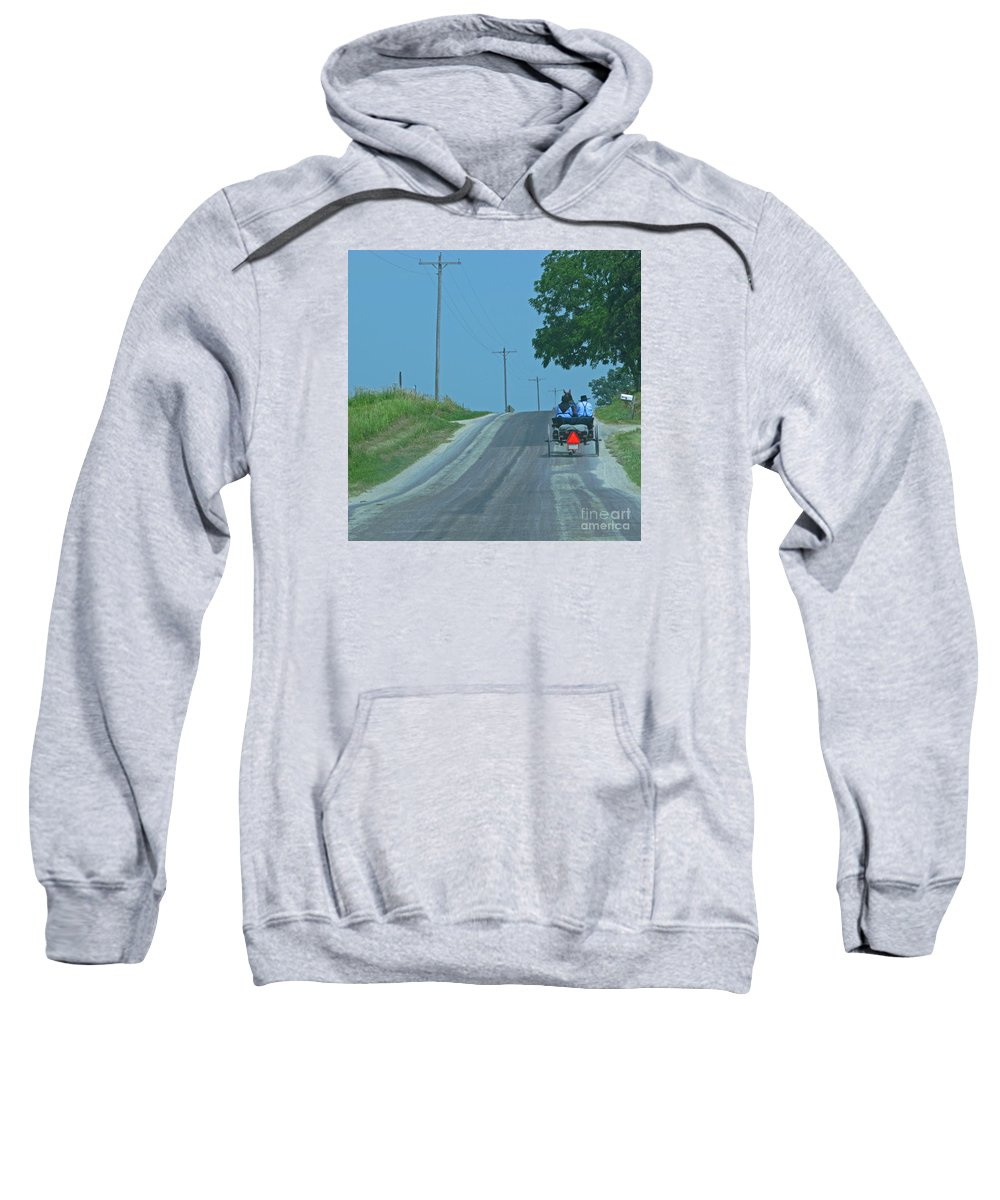 Amish Sweatshirt featuring the photograph Buggy Ride by Ann Horn