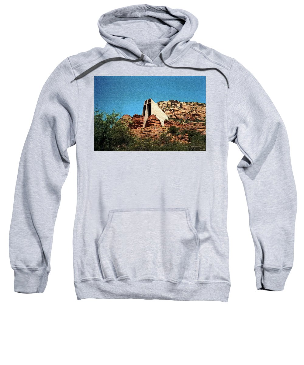 Chapel Of The Holy Cross Sweatshirt featuring the photograph Built Upon Rock by Connie Fox