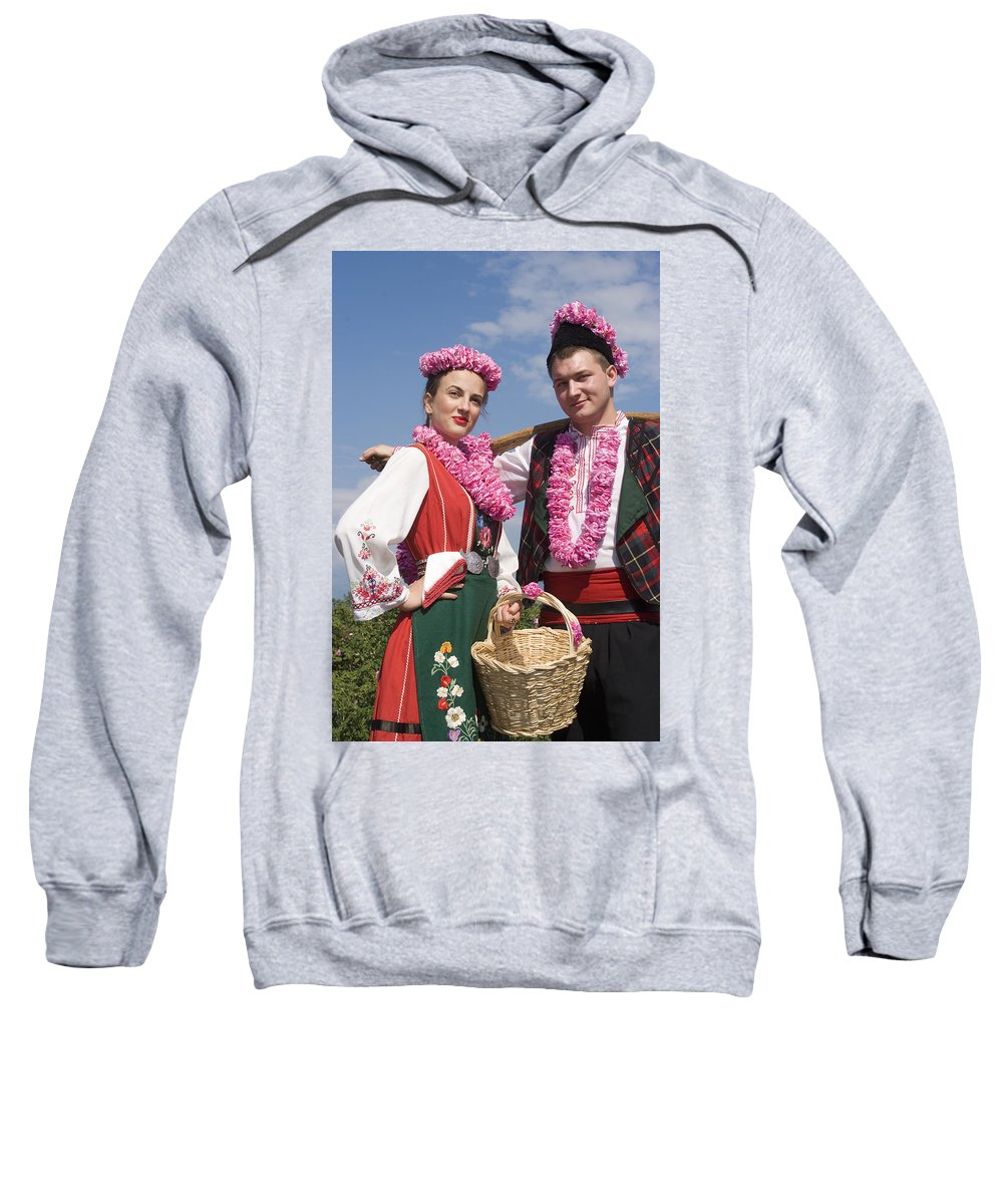 Bulgaria Lady And Bulgarian Man In Traditional Costume Dress At Sweatshirt featuring the photograph Bulgaria Lady And Bulgarian Man In Traditional Costume Dress by Cliff Norton