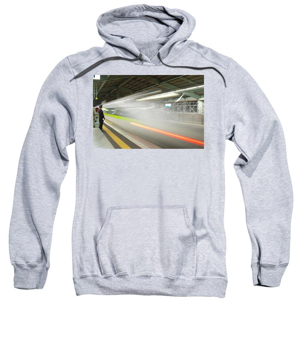 Shinkansen Sweatshirt featuring the photograph Bullet Train by Sebastian Musial