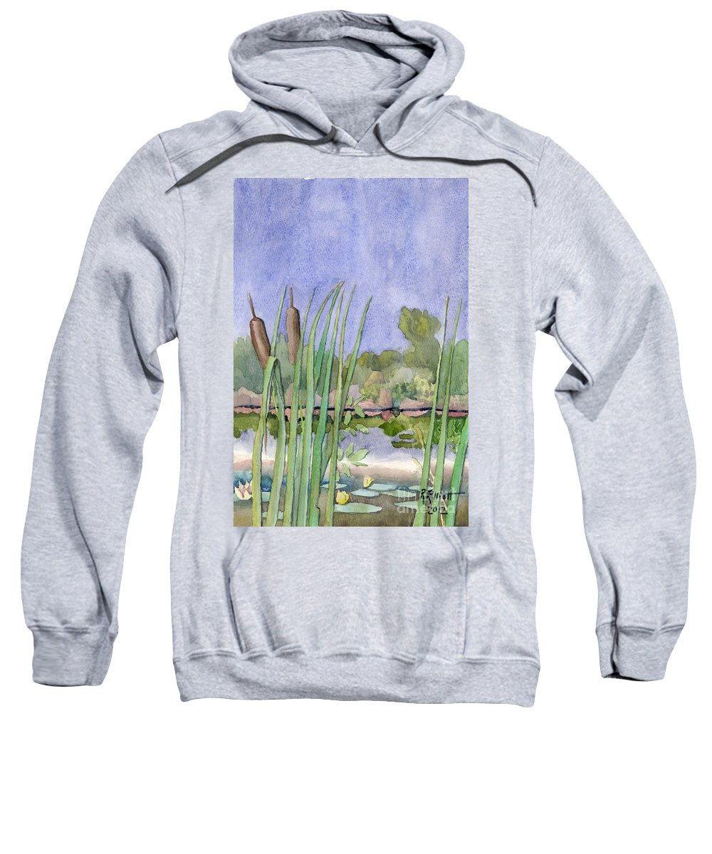 Acrylic Prints Sweatshirt featuring the painting Bullrushes by John Herzog