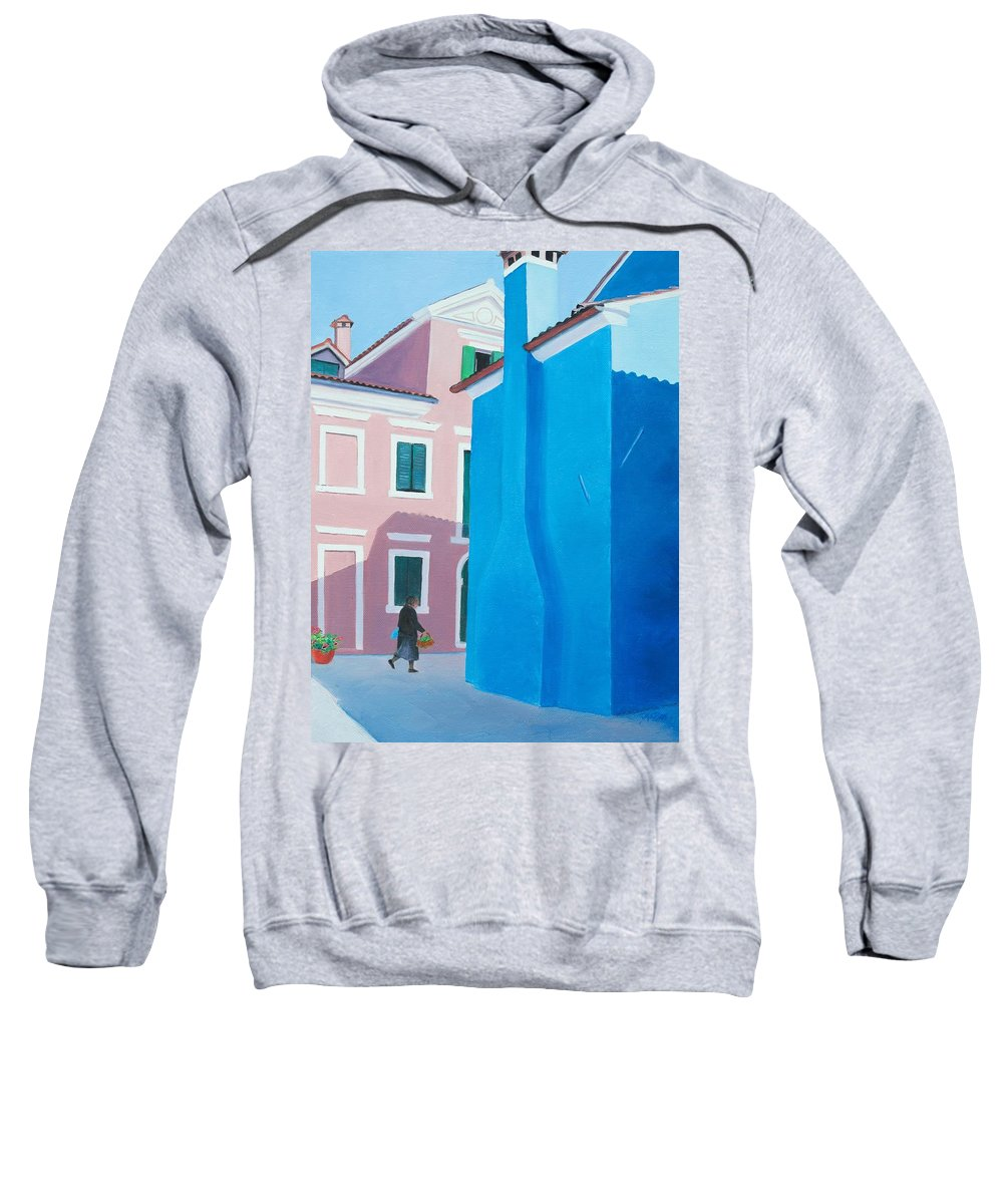 Burano Sweatshirt featuring the painting Burano Venice Street Scene by Jan Matson