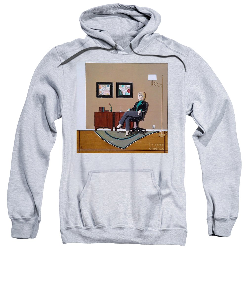 John Lyes Sweatshirt featuring the painting Businesswoman Sitting In Chair by John Lyes