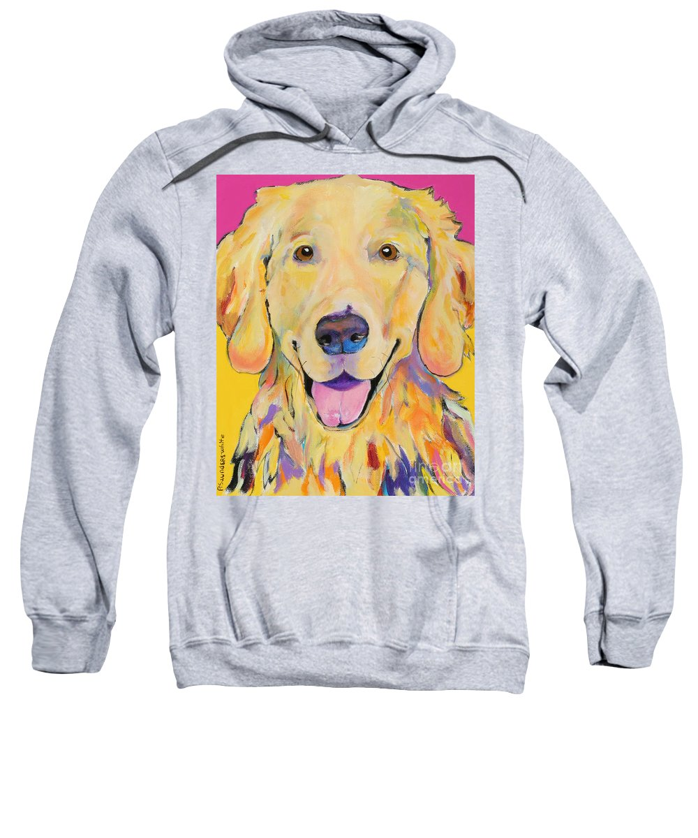 Golden Retriever Sweatshirt featuring the painting Buster by Pat Saunders-White