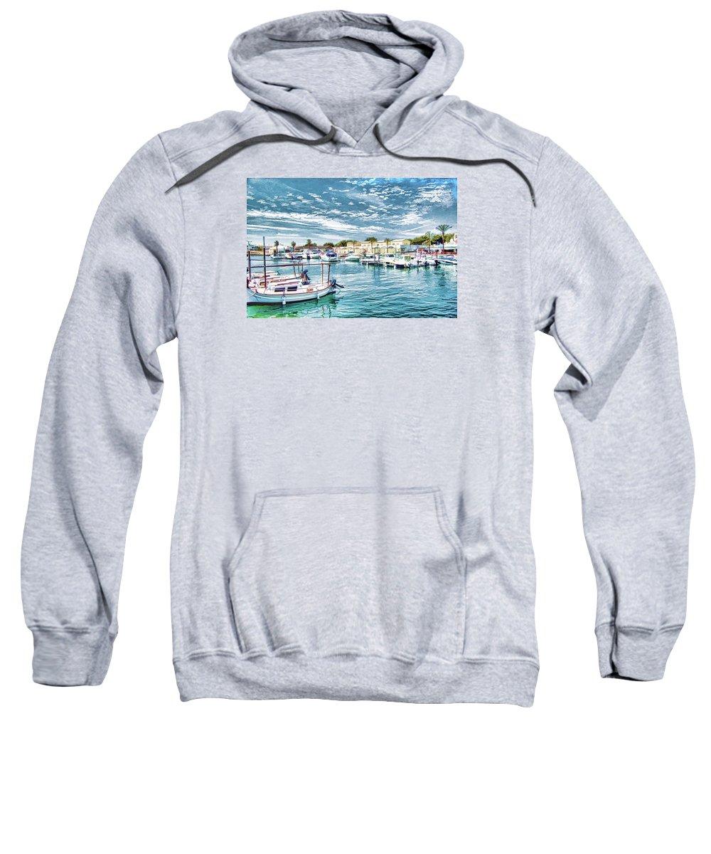 Ciutadella Sweatshirt featuring the digital art Busy Marina by John Lynch