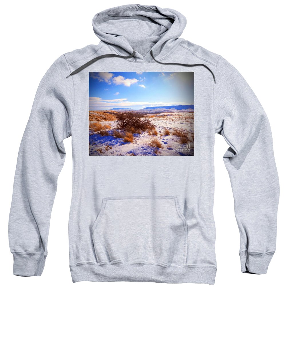 Butte Sweatshirt featuring the photograph Butte And Tumbleweed by Desiree Paquette