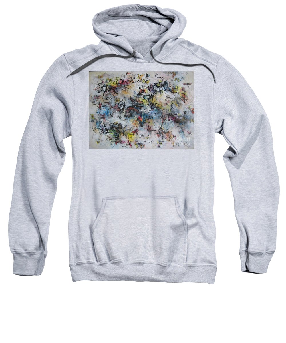 Butterfly Painting Sweatshirt featuring the painting Butterflies And Dragonflies by Seon-Jeong Kim