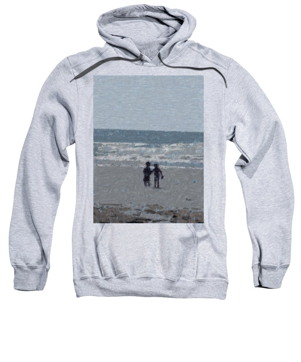 Fun Sweatshirt featuring the painting By The Ocean by Sergey Bezhinets