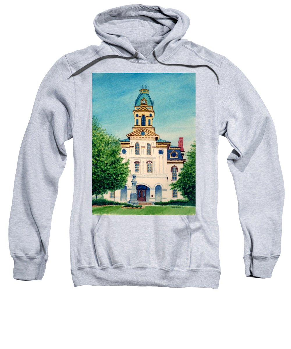 Cabarrus County Sweatshirt featuring the painting Cabarrus County Courthouse by Stacy C Bottoms