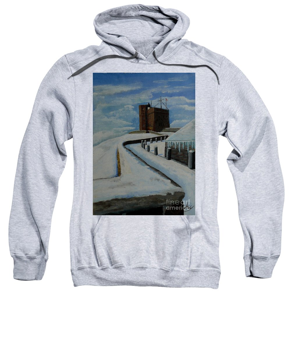Landscape Sweatshirt featuring the painting Cabot Tower Newfoundland by Anthony Dunphy
