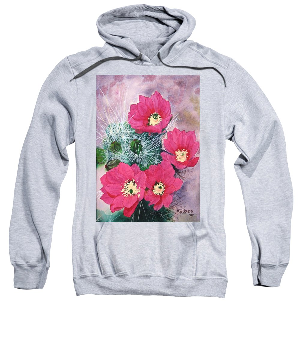Cactus Sweatshirt featuring the painting Cactus Flowers I by Mike Robles