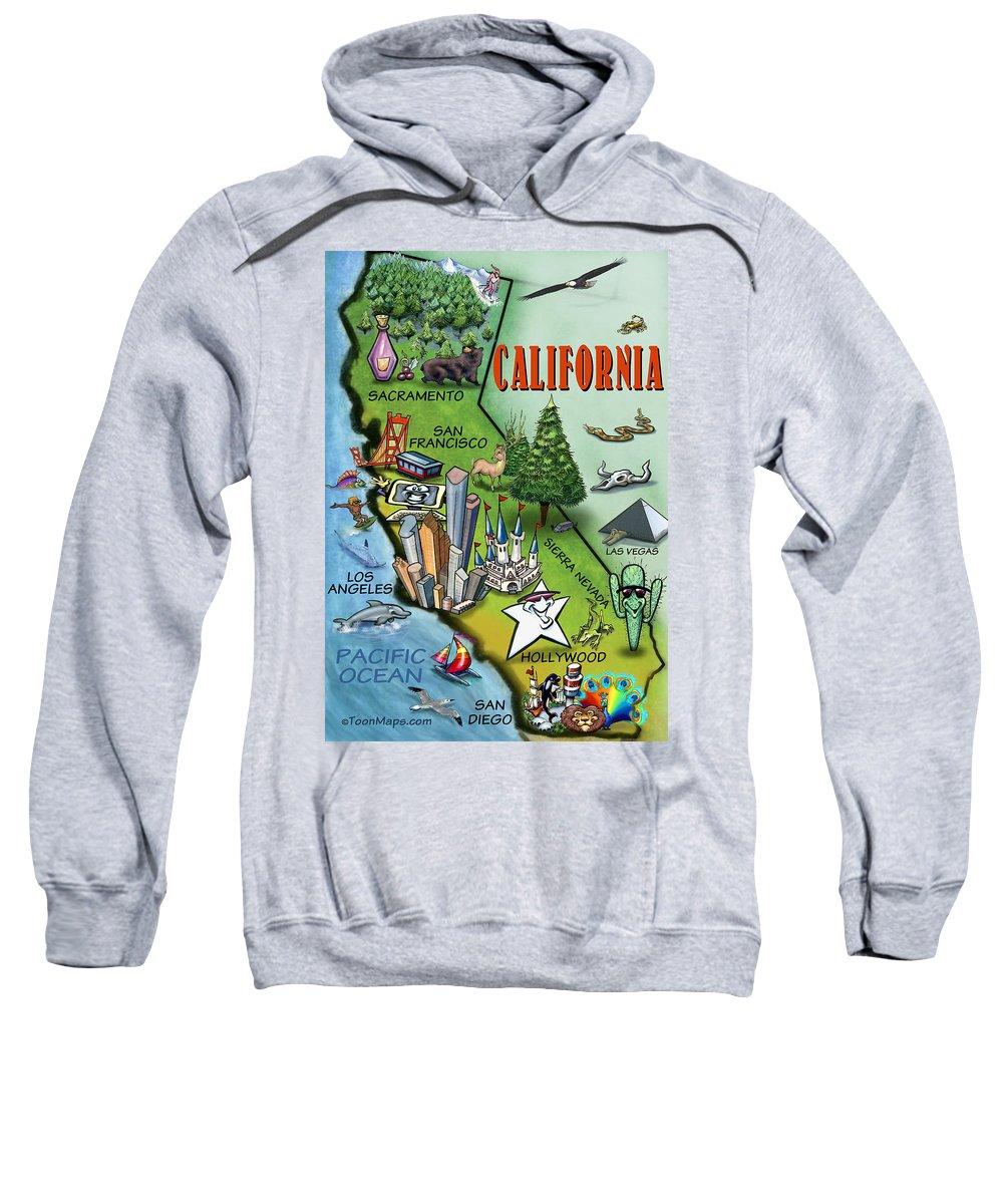 California Sweatshirt featuring the digital art California Cartoon Map by Kevin Middleton