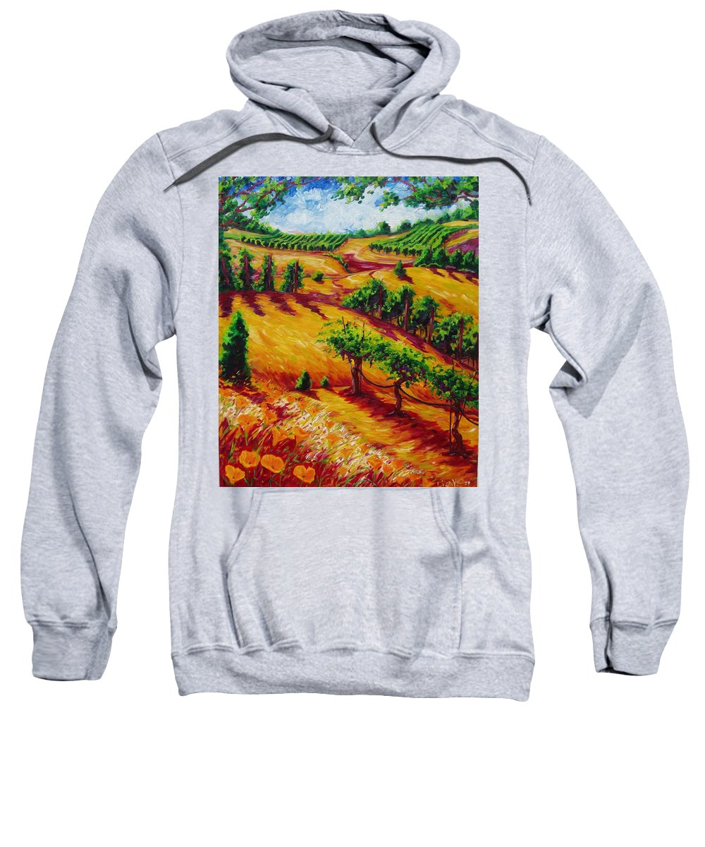 Napa Valley Vineyards Of California Grapes And Vines Sweatshirt featuring the painting California Chardonnay by Lisa V Maus