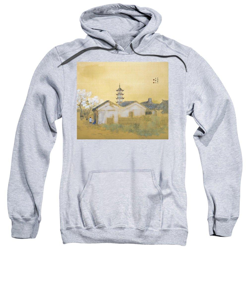 Takeuchi Seiho Sweatshirt featuring the painting Calm Spring In Jiangnan by Takeuchi Seiho