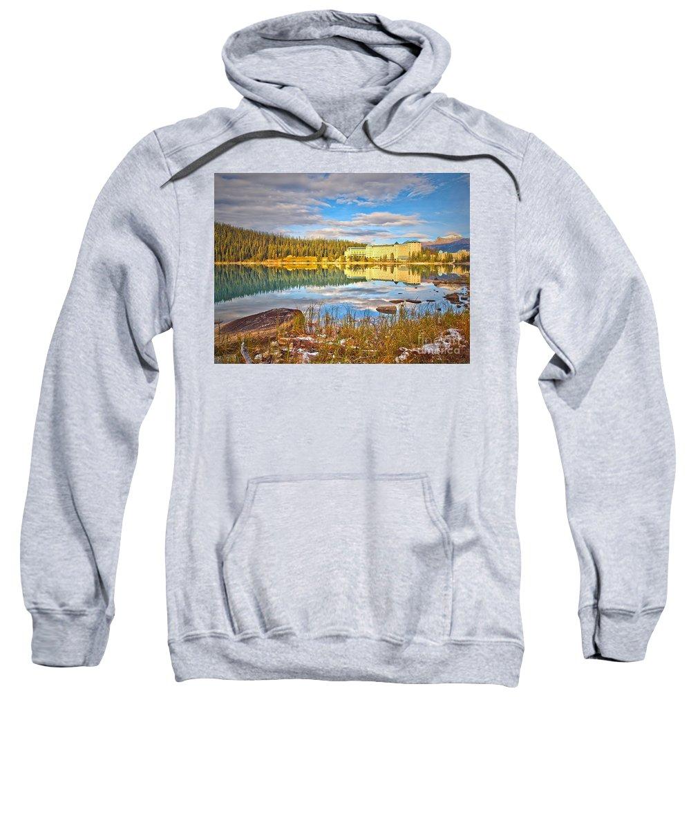 Lake Louise Sweatshirt featuring the photograph Calm Waters by Tara Turner