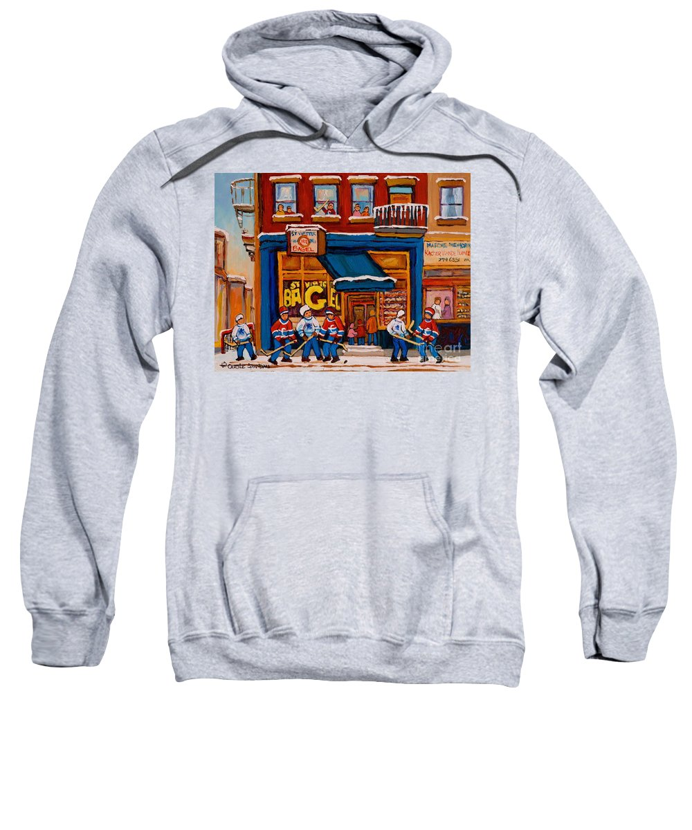 Canadian Art Specialist Sweatshirt featuring the painting Canadian Artists Paint Hockey And Montreal Streetscenes Over 500 Prints Available by Carole Spandau