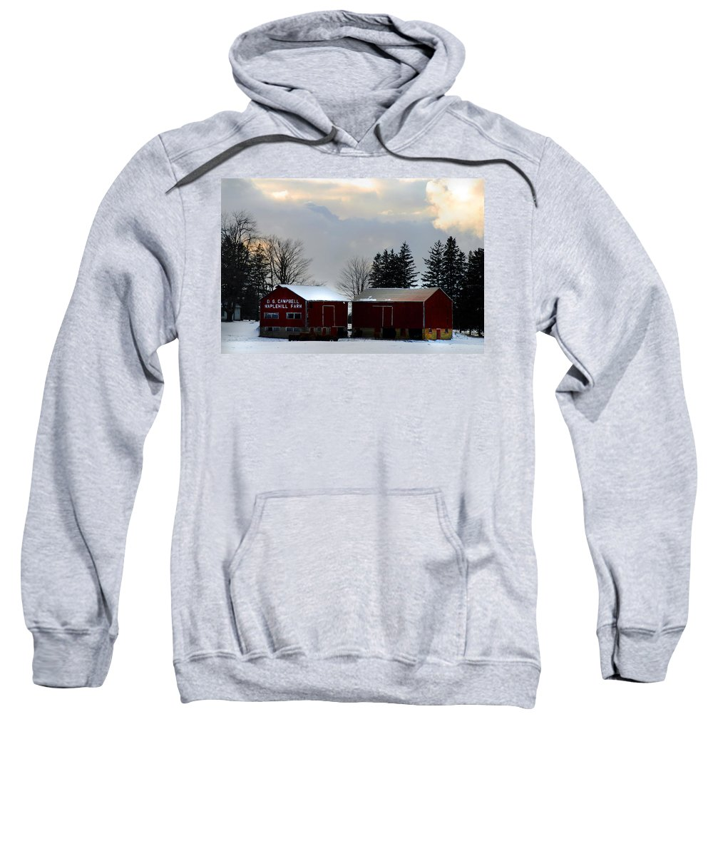 Canada Sweatshirt featuring the photograph Canadian Snowy Farm by Anthony Jones