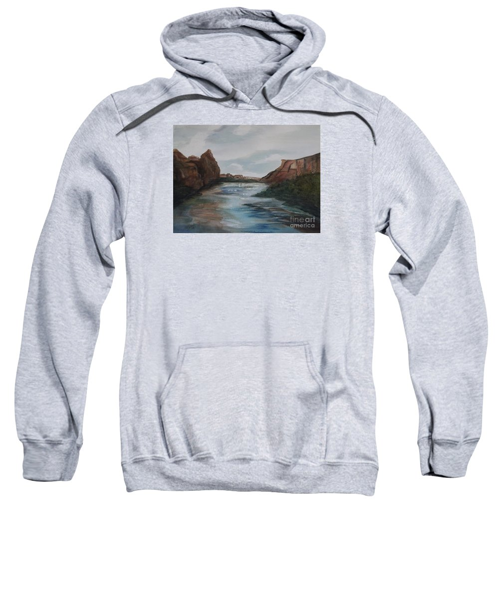 Canyon De Chelly Sweatshirt featuring the painting Canyon De Chelly by Ellen Levinson