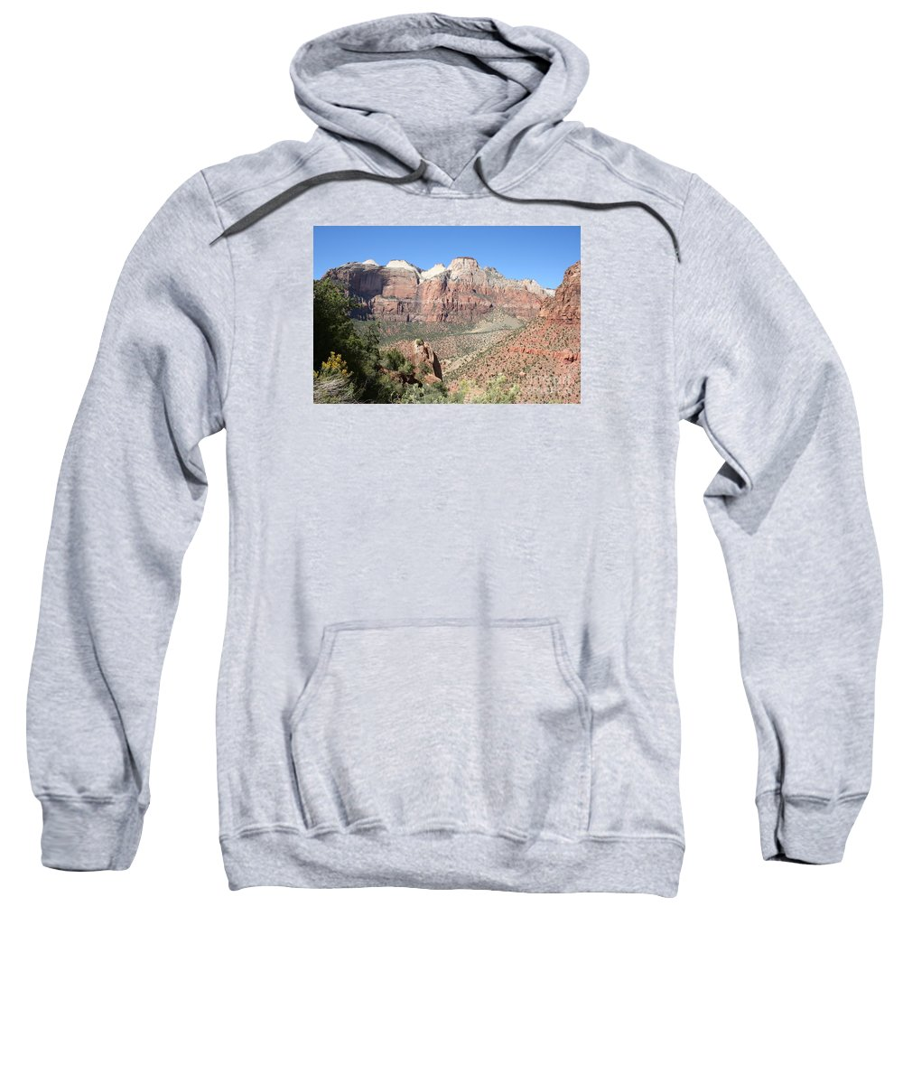 Mountains Sweatshirt featuring the photograph Canyon Overview Zion Park by Christiane Schulze Art And Photography