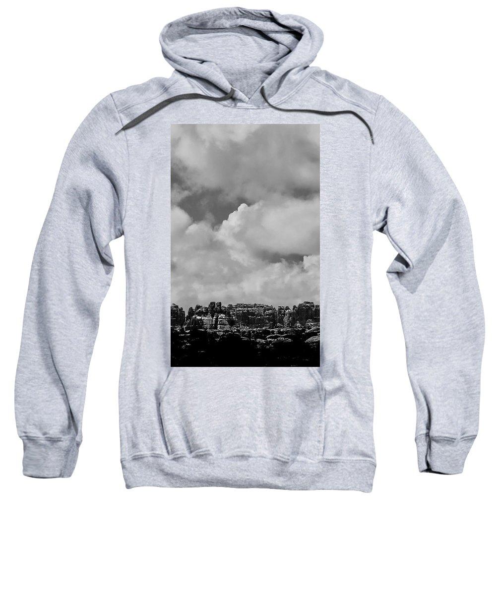 Black And White Photo Sweatshirt featuring the digital art Canyonlands Winter Vista by Tim Richards