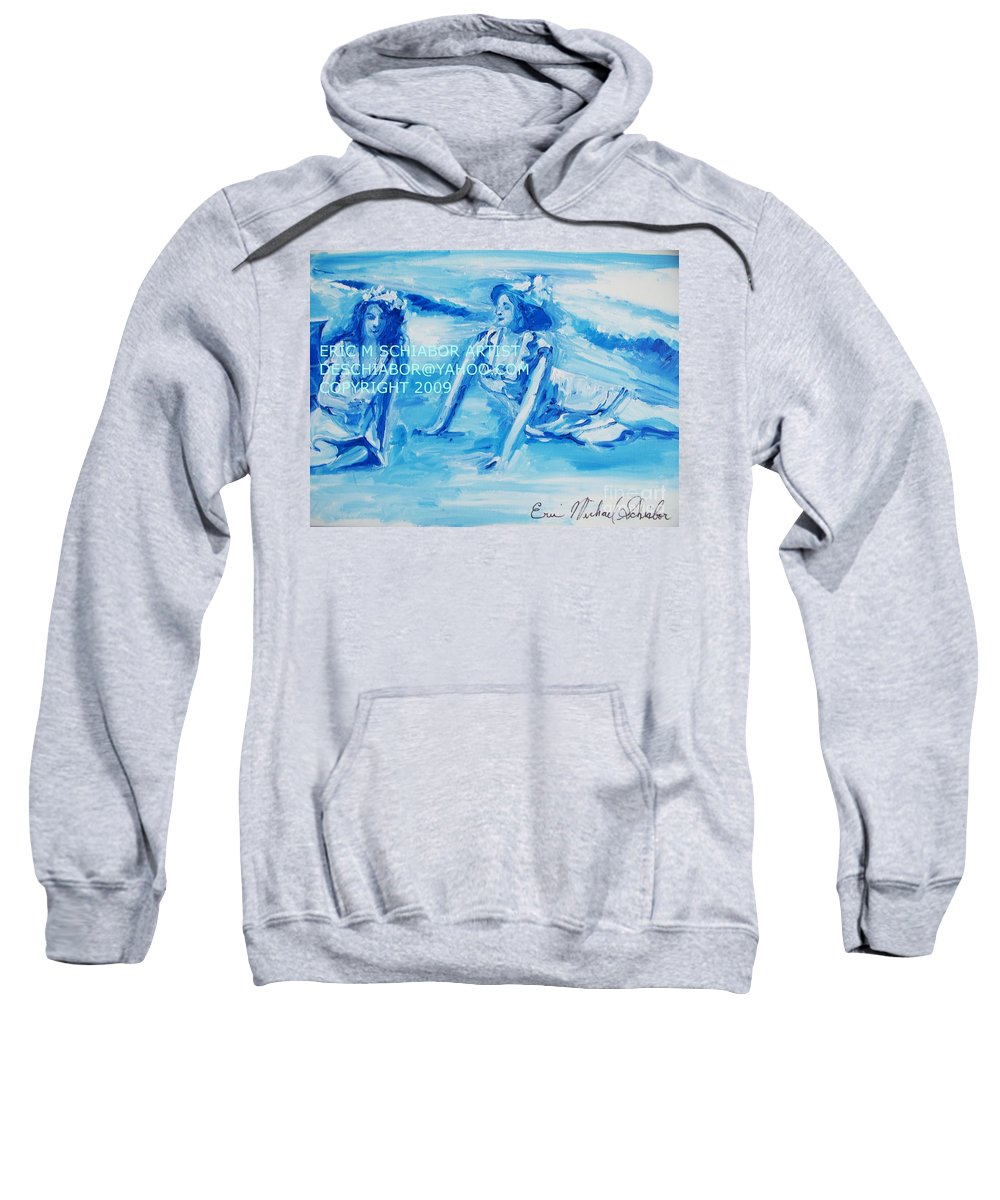Bathing Sweatshirt featuring the painting Cape May Bathing Beauty by Eric Schiabor