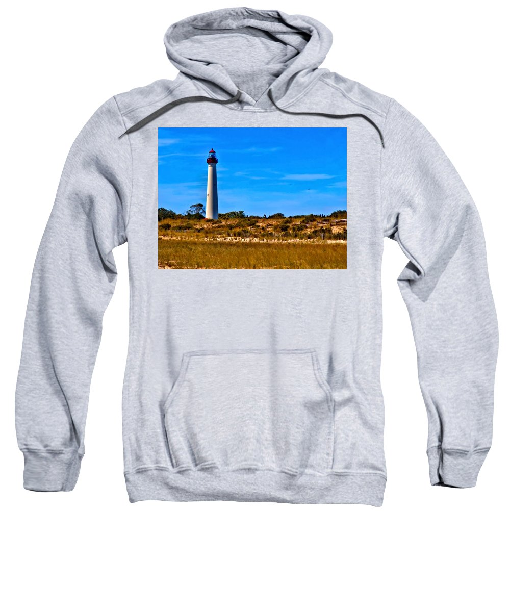 Cape May Sweatshirt featuring the digital art Cape May Lighthouse by Alicia Zimmerman