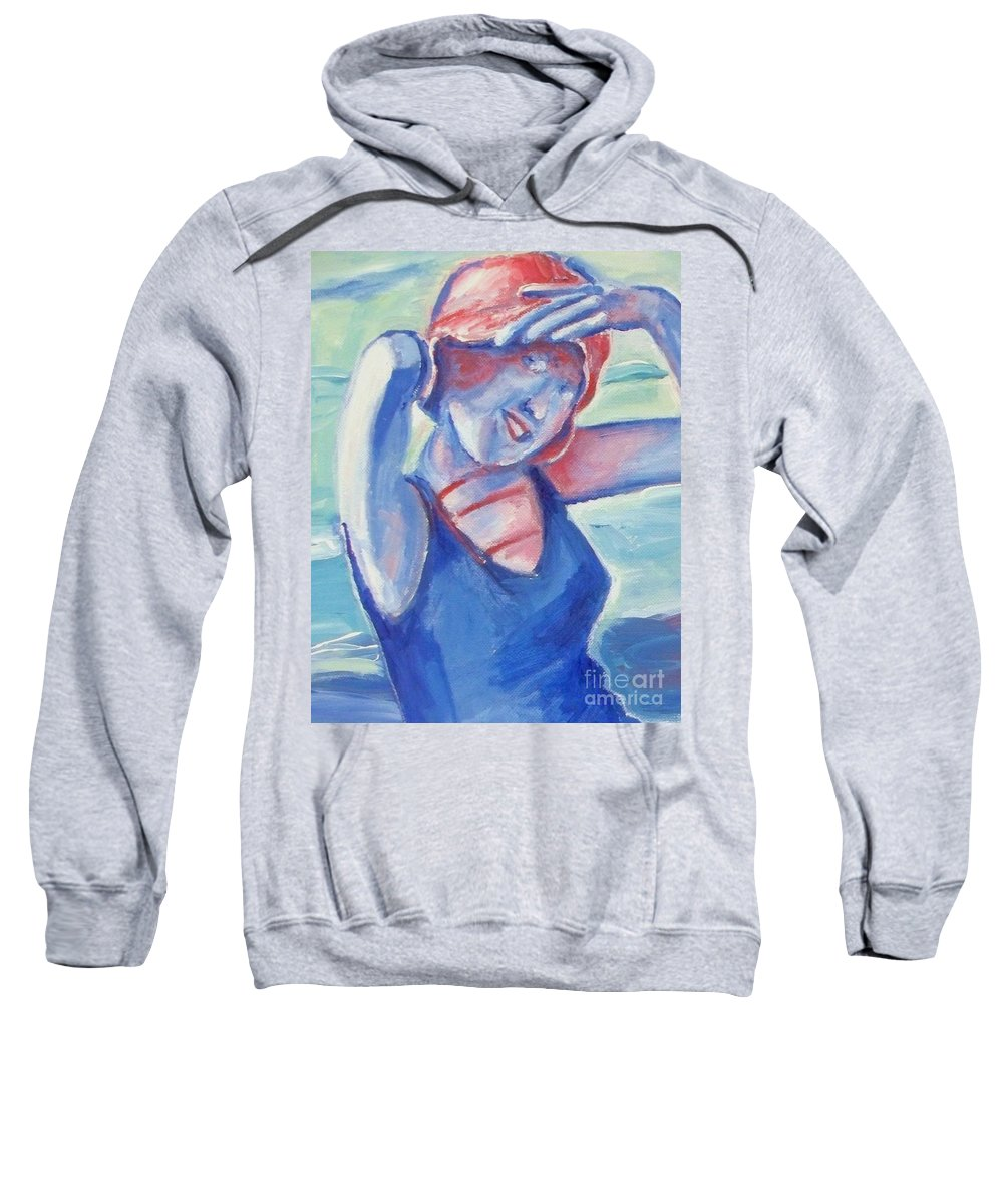 1920s Sweatshirt featuring the painting Cape May1920s Bathing Beauty by Eric Schiabor