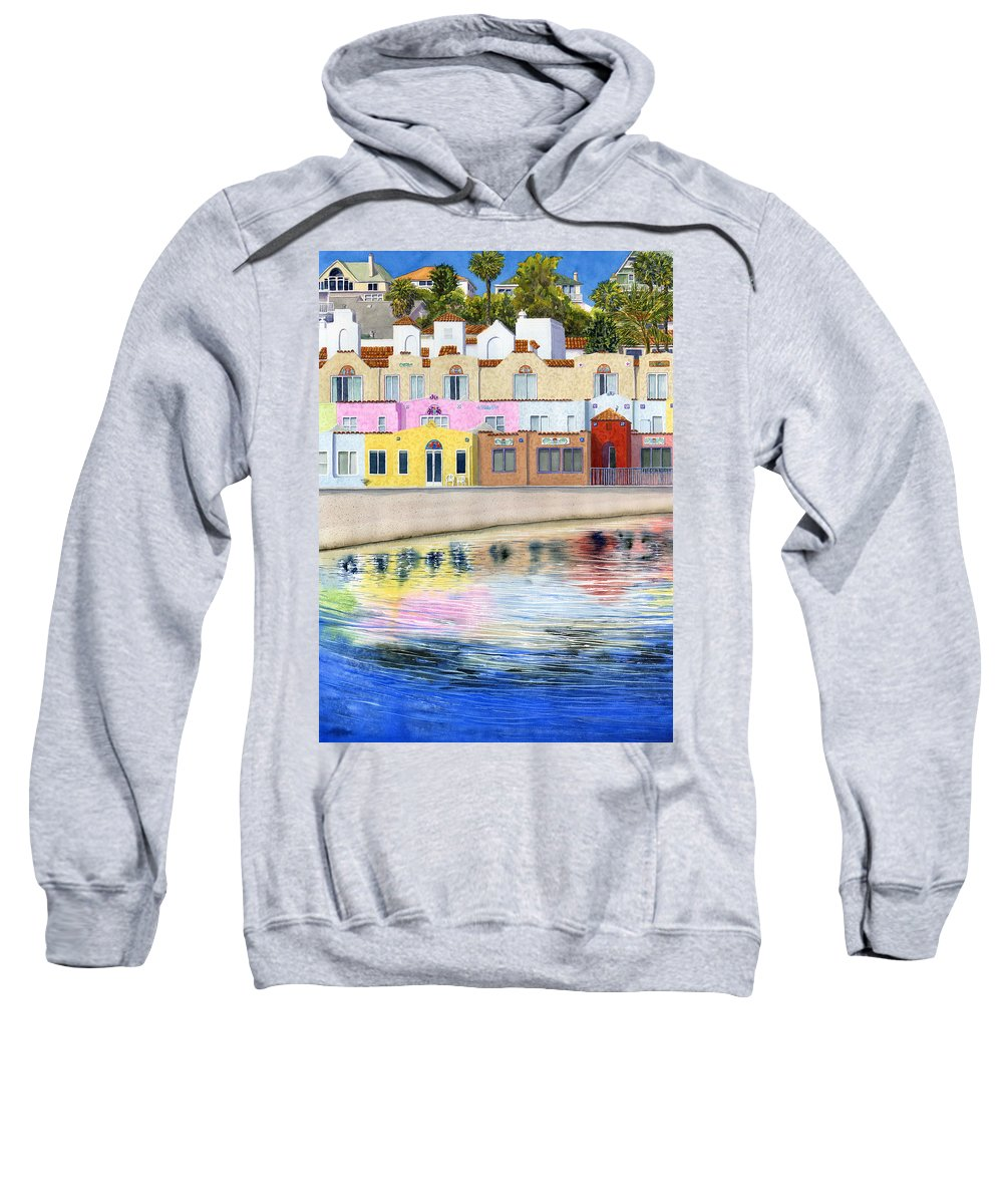 Capitola Sweatshirt featuring the painting Capitola Venetian by Karen Wright