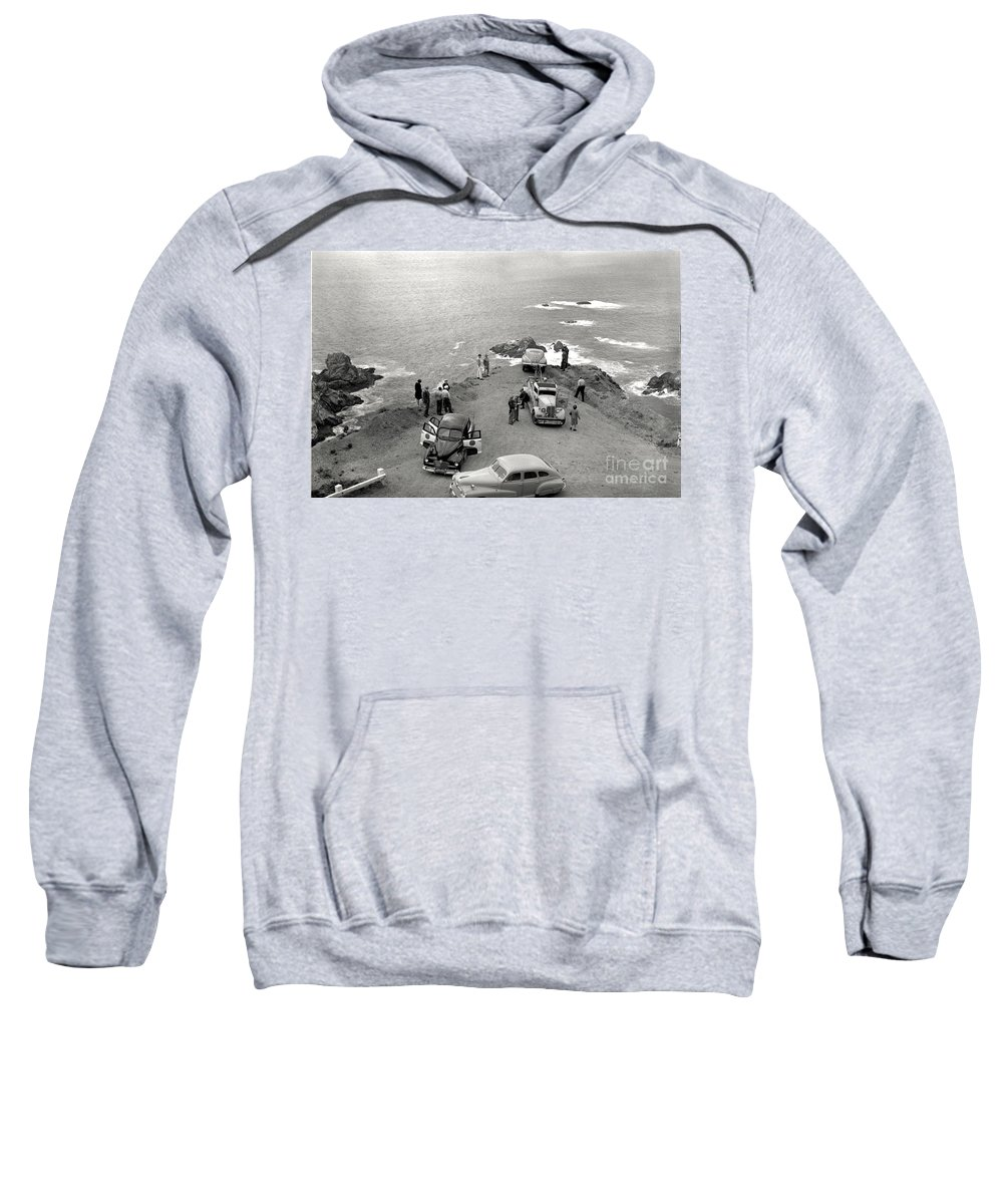 Car Sweatshirt featuring the photograph Car Over Edge On Highway One Big Sur California  March 27 1947 by California Views Archives Mr Pat Hathaway Archives