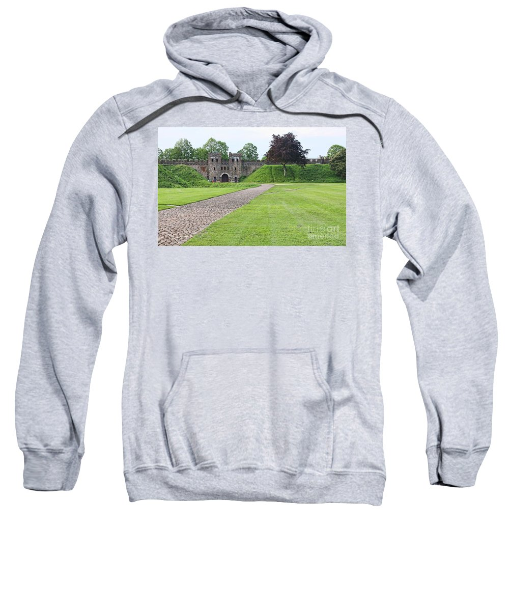 Cardiff Castle Sweatshirt featuring the photograph Cardiff Castle Wall 8383 by Jack Schultz