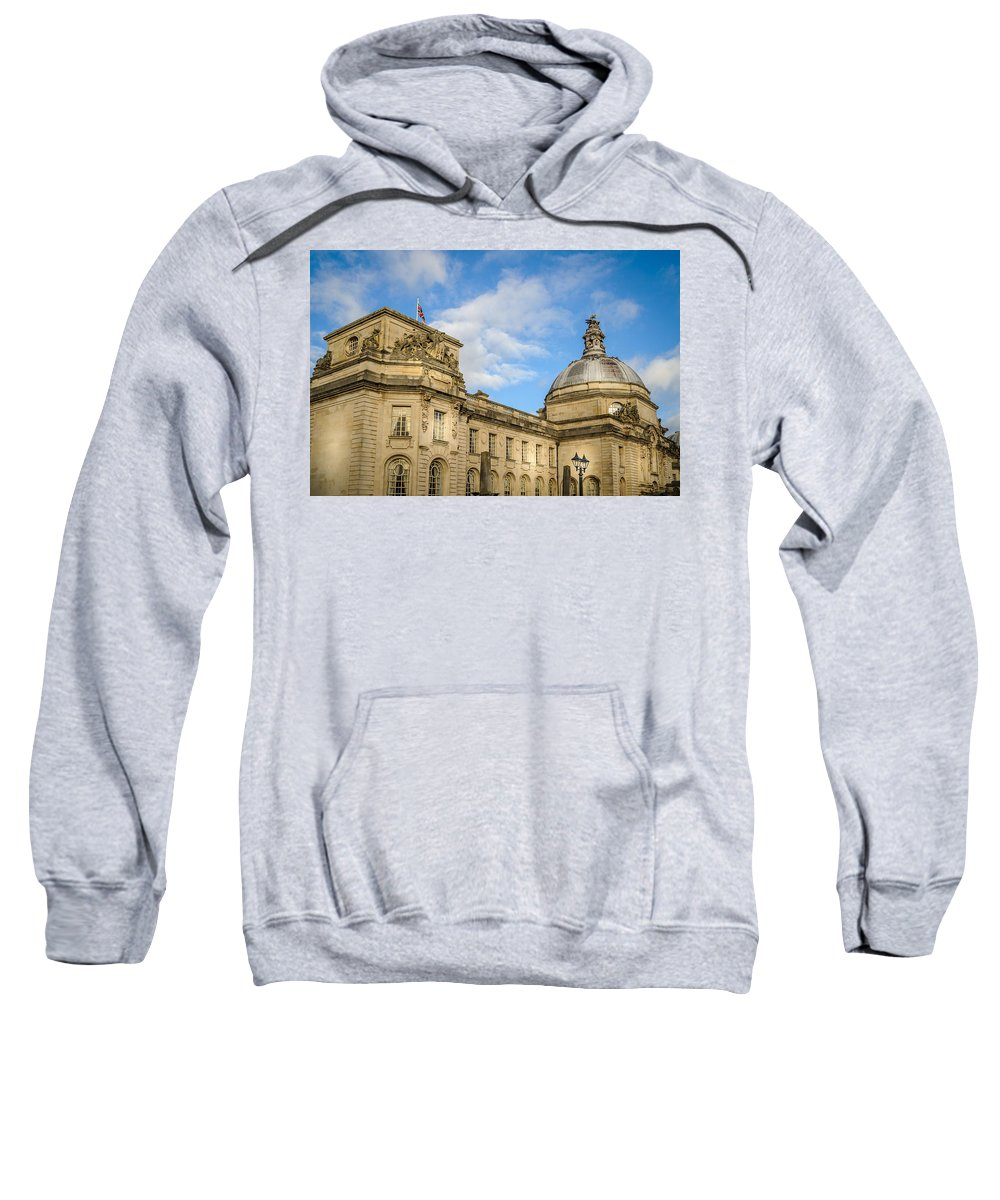 Blue Sweatshirt featuring the photograph Cardiff City Hall by Mark Llewellyn
