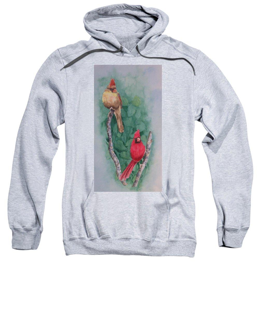 Cardinal Sweatshirt featuring the painting Cardinal Companions by Rhonda Leonard
