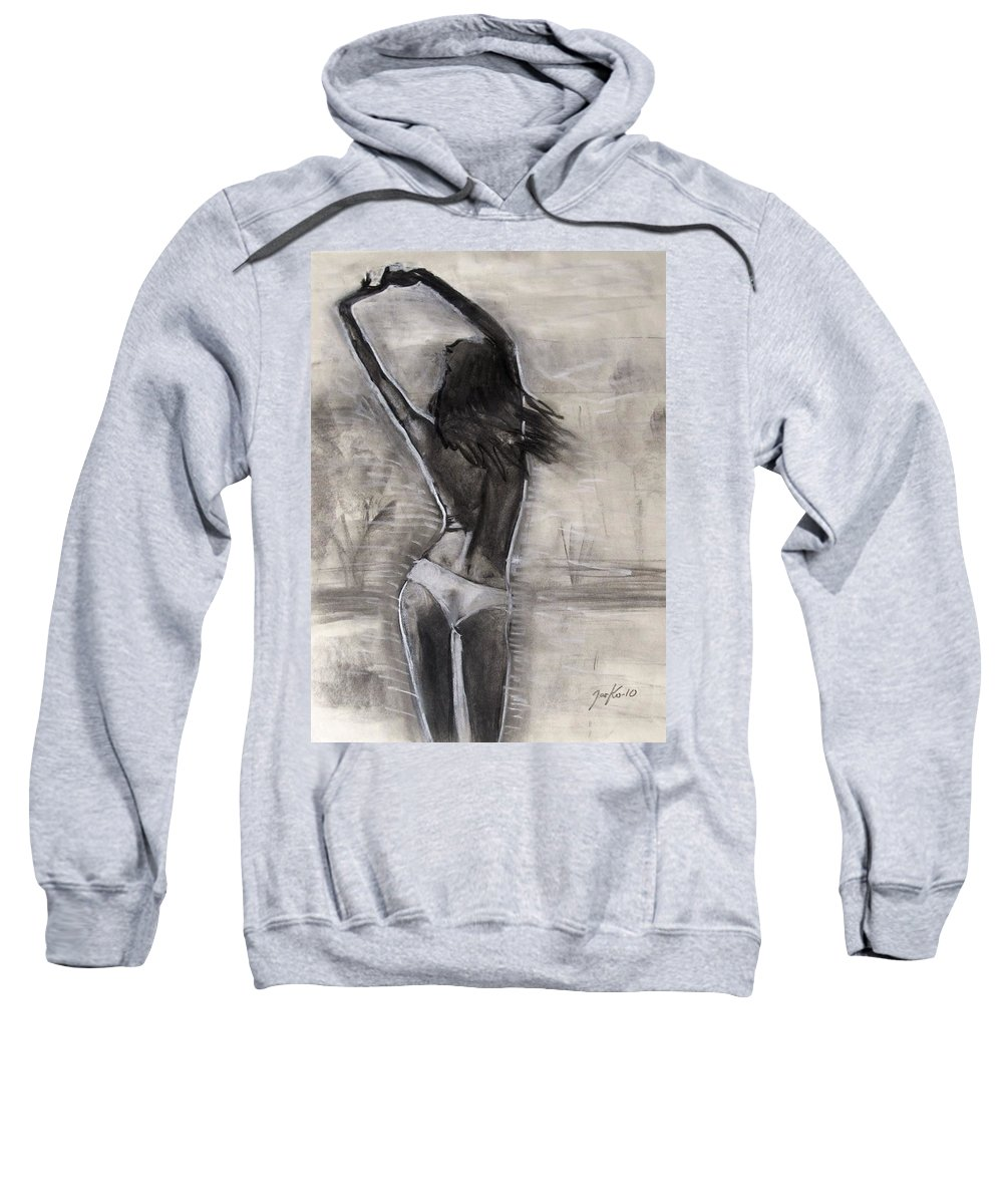Beautiful Sweatshirt featuring the painting Caribbean Blue by Jarko Aka Lui Grande