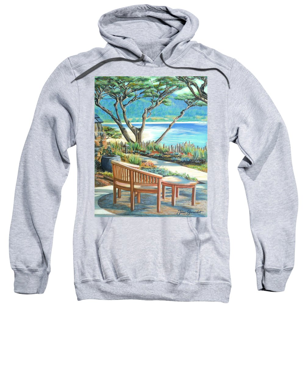 Carmel Sweatshirt featuring the painting Carmel Lagoon View by Jane Girardot