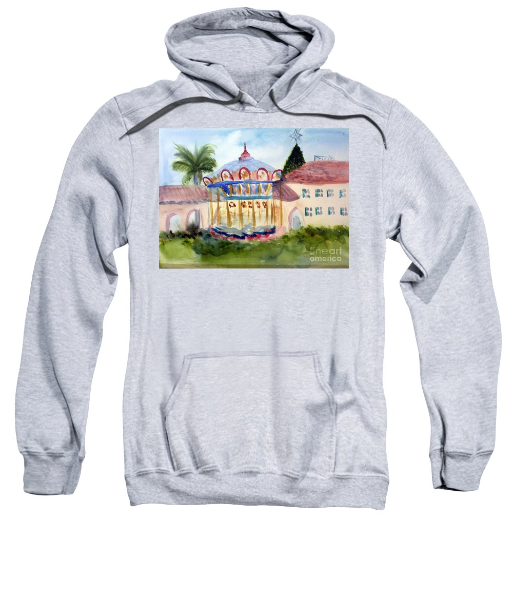 Architecture Sweatshirt featuring the painting Carosel At Old School Square by Donna Walsh