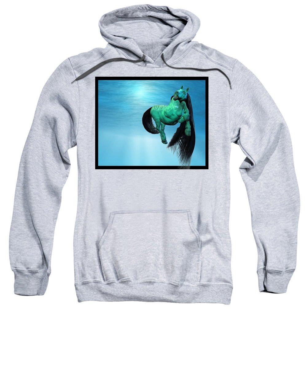 Horse Sweatshirt featuring the digital art Carousel Vii by Betsy Knapp
