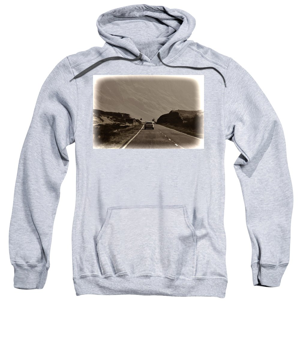 2 Lane Highway Sweatshirt featuring the photograph Cars And Other Vehicles On A Road In The Scottish Highlands by Ashish Agarwal